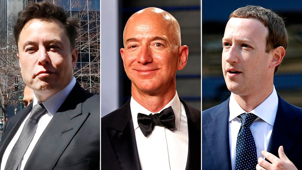 Elon Musk, Jeff Bezos y Mark Zuckerberg