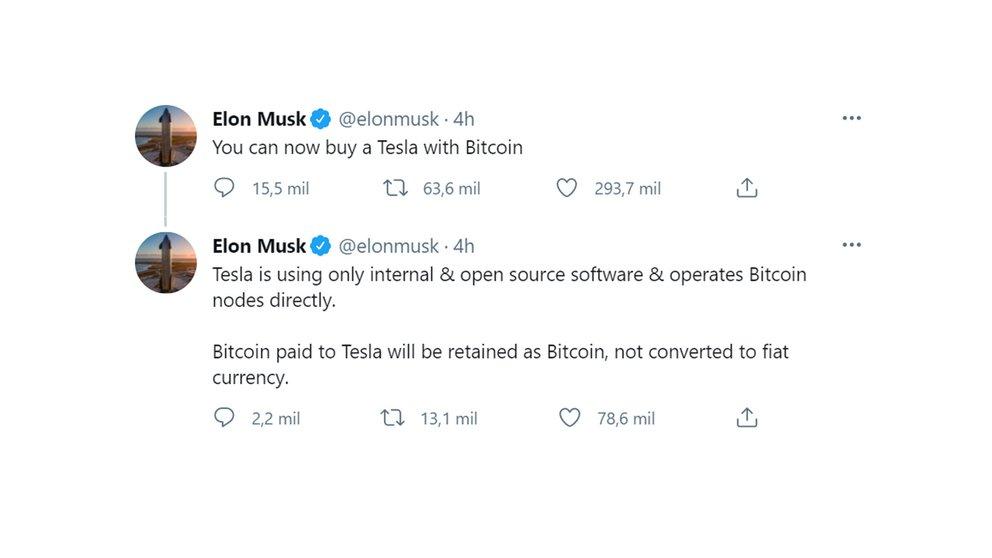 tweet elon musk bitcoin tesla
