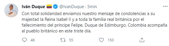 ivan duque tweet principe edinburgo