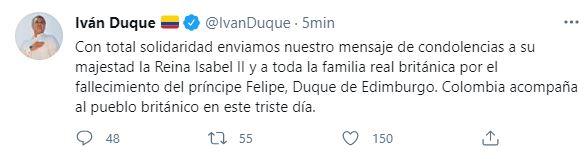 ivan duque tweet principe edinburgo